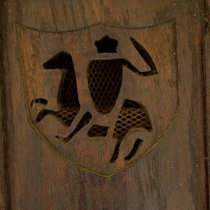 Carving on our cellar door hints at Beynac's medieval past